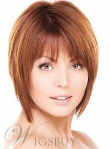 cute short straight wigs orange/brown short natural