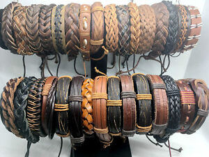 Wholesale-lot-30pcs-Mix-Style-Genuine-Handmade-Leather-Cuff-Bracelet-Wristband