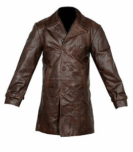 VINTAGE-MENS-BROWN-DISTRESSED-COW-HIDE-REAL-LEATHER-LONG-TRENCH-COAT-JACKET