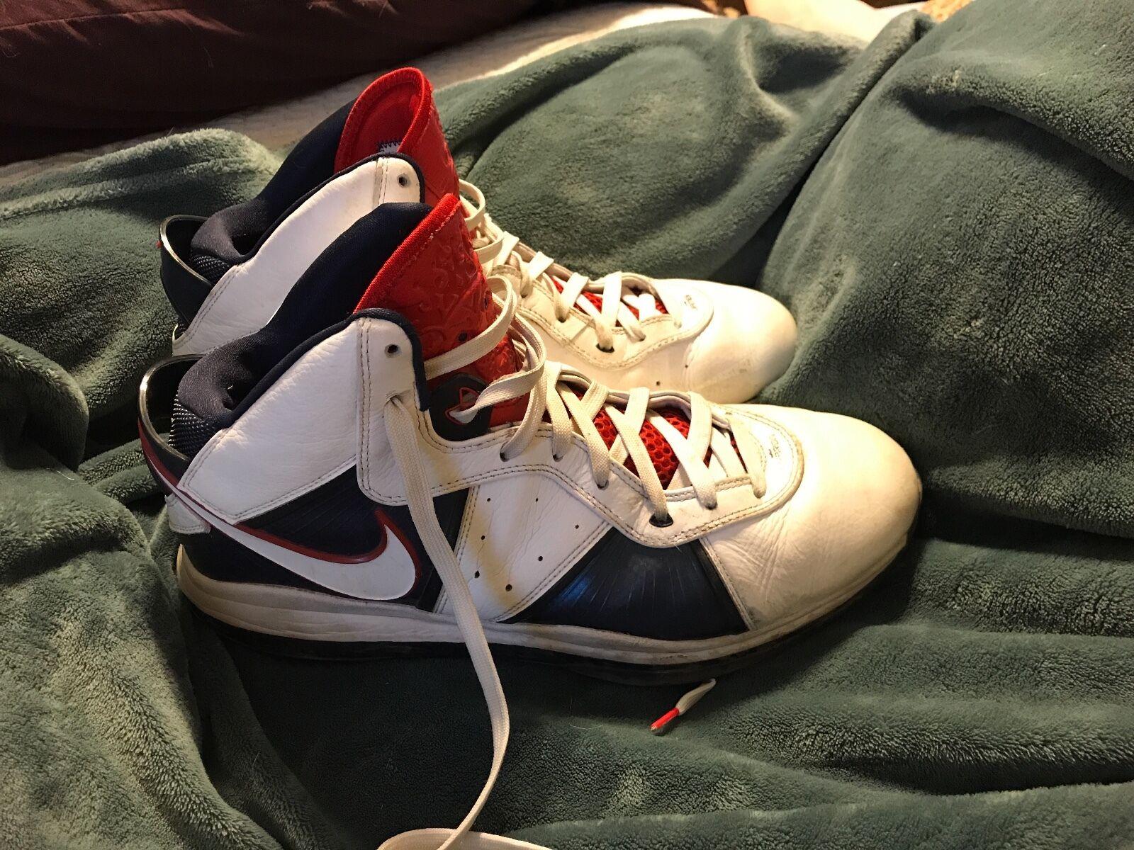 Nike Lebron VIII 8 White/White-Midnight Navy- Red USA 2018 417098-100 Price reduction