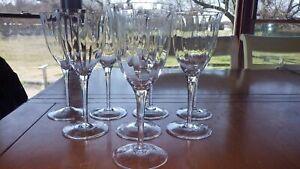GORHAM CRYSTAL Water Goblets Glasses Laurin Gold Optic Panel Elegant stems 8 11z