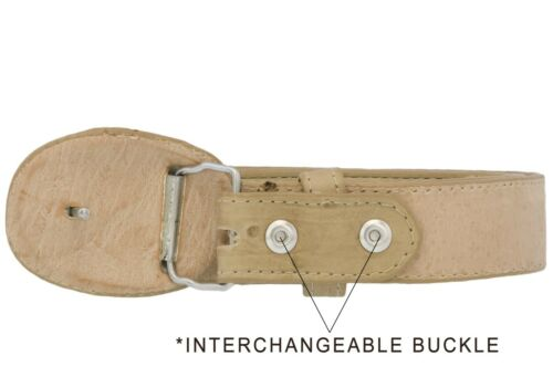Details about  /Kids Sand Ostrich Western Belt Dress Pattern Leather Unisex Round Buckle Cinto