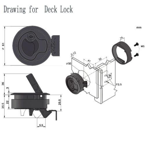 "2 PCS Chrome 2/"" Boat Marine Locking Flush Pull Slam Latch Hatch with Lock Key"