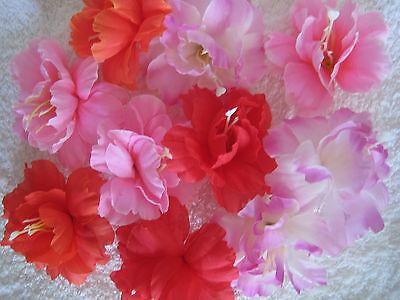 10 Deko Exotik Blüten Köpfe 7,5cm Künstliche Kunst Blumen Basteln Floristik Fest