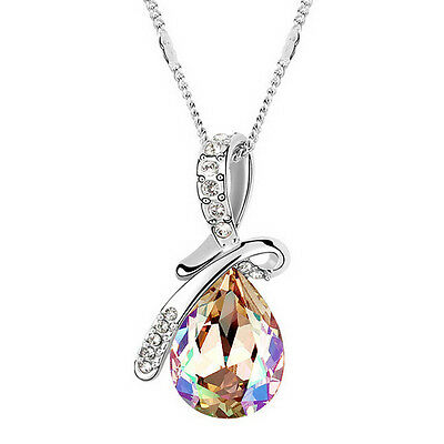 Radiant Crystal Rhinestone Champagne Water Drop Pendant Silver Plated Necklace
