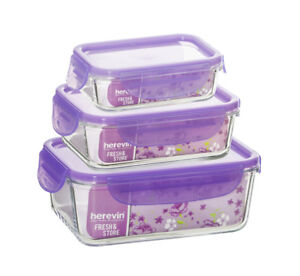 Food-Storage-Containers-3pcs-Glass-w-Purple-Top-Lids-Microwave-Oven-Freezer-Safe