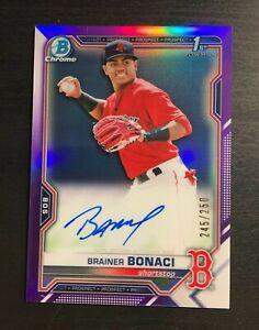 2021 Bowman Chrome BRAINER BONACI 1st Auto Rookie Purple Refractor /250 Red Sox