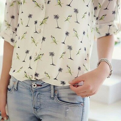 Chiffon Sleeve Long T Print Shirt Blouse Floral Tops Women Ladies Casual