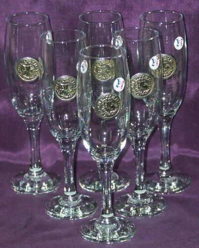 6 Flûtes à champagne Sceau Templier en étain