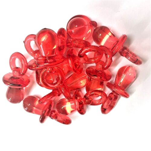Baby Shower Dummy Pendants 31mm GUMBALL 10 X CLEAR RED Dummy Charms