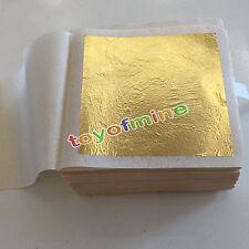 "10 Sheets Gold Foil Leaf 100% 24K Food Anti-Aging Facial Spa Craft Gilding 1.7"""