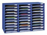 Office School Desk 30 Slot Blue Mail Box Letter File Cardboard Storage Organizer