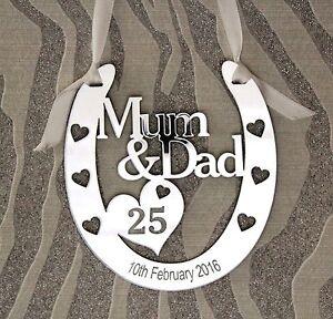 Personalised-Mum-amp-Dad-25th-Silver-Wedding-Anniversary-Horseshoe-Gift-Keepsake