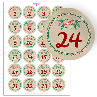 24 Aufkleber für Adventskalender Adventszahlen ...
