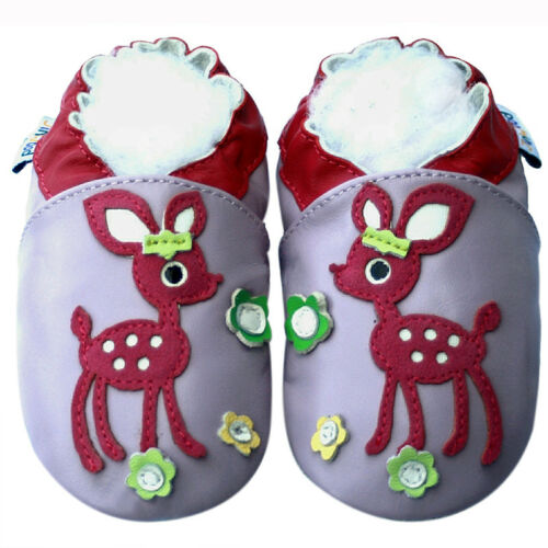 Littleoneshoes Soft Sole Leather Baby Infant Kids child DeerLilac Shoes 30-36M