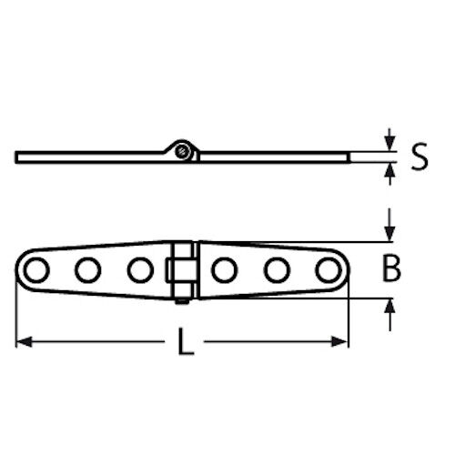160mm x 27mm Long Strap Hinge Stainless Steel 316 Grade A4 Polished Finish