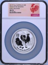 2017 P Australia Silver Lunar Year of the Rooster 5 oz $8 Coin NGC MS70 ER