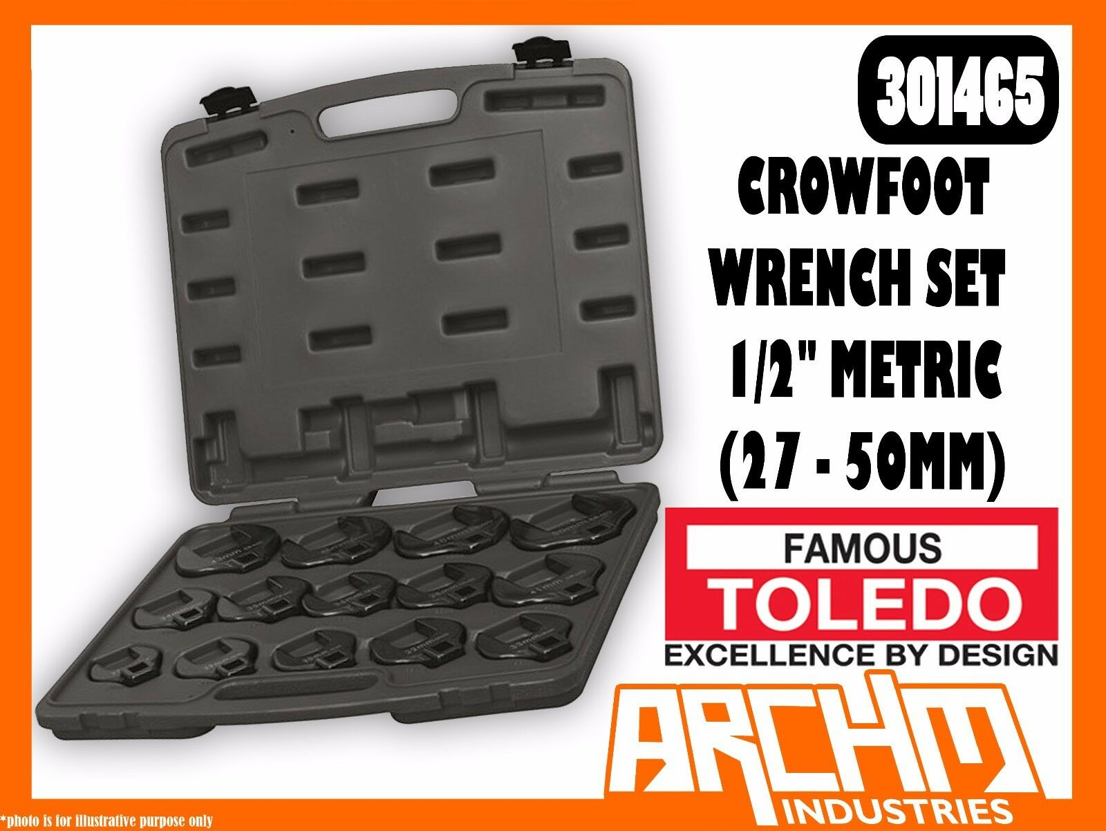 TOLEDO 301465 - CROWFOOT WRENCH SET 1 2  - METRIC (27 - 50MM) 14 PC STRAIGHT JAW