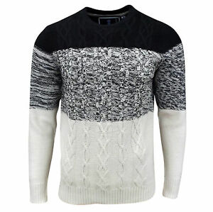 Soul-Star-Homme-Caspienne-Cable-Pull-tricot-noir-ECRU-MARNE