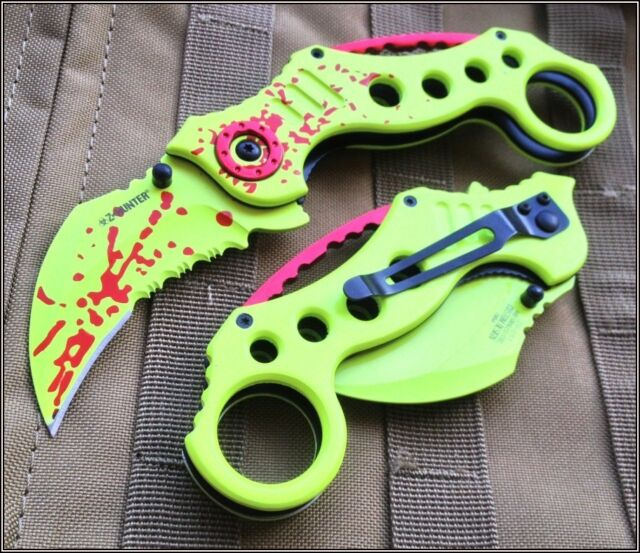 "TACTICAL SPRING ASSISTED NEON GREEN KARAMBIT KNIFE POCKET CLIP - 5"" CLOSED"