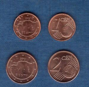 Estonie 2012 Lot de 2 pièces 1 centime et 2 centimes SPL de rouleau
