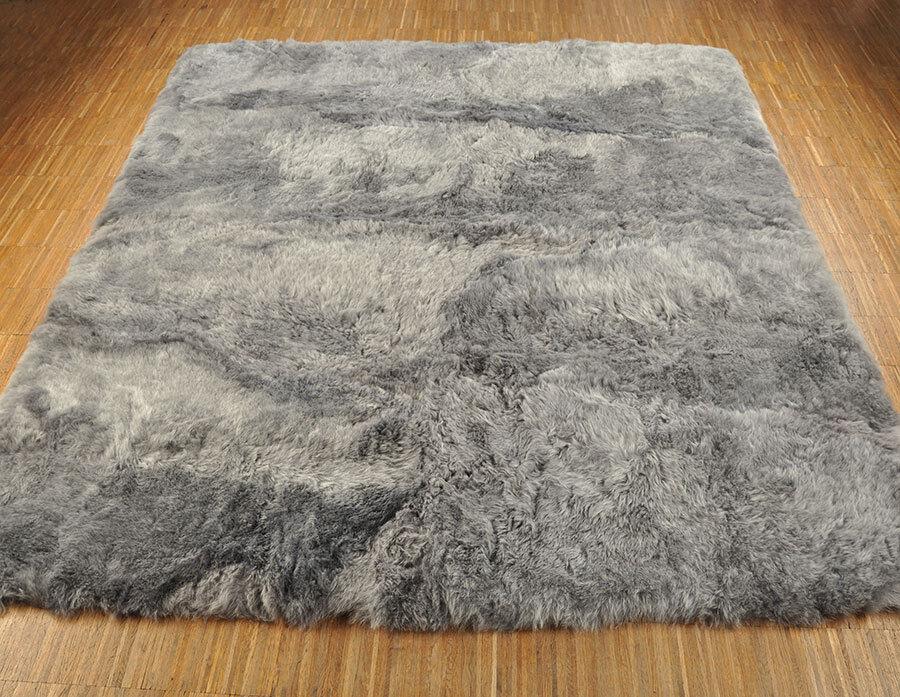 Éco Islande Peau Lainee de tapis 210 x 185 cm Fourrure-Tapis Gris de Lainee 8 ovini 975124