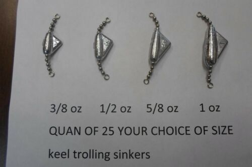 QUAN OF 25 KEEL SINKERS TROLLING 3//8,1//2,5//8,1 OZ YOUR CHOICE