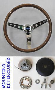 65-66-Galaxie-Grant-Walnut-Wood-Steering-Wheel-15-034-Chrome-Spokes-Classic-Look