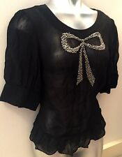NEXT EMBELLISHED BOW FRONT CHIFFON BLACK TOP/T SHIRT/BLOUSE SIZE 10/12