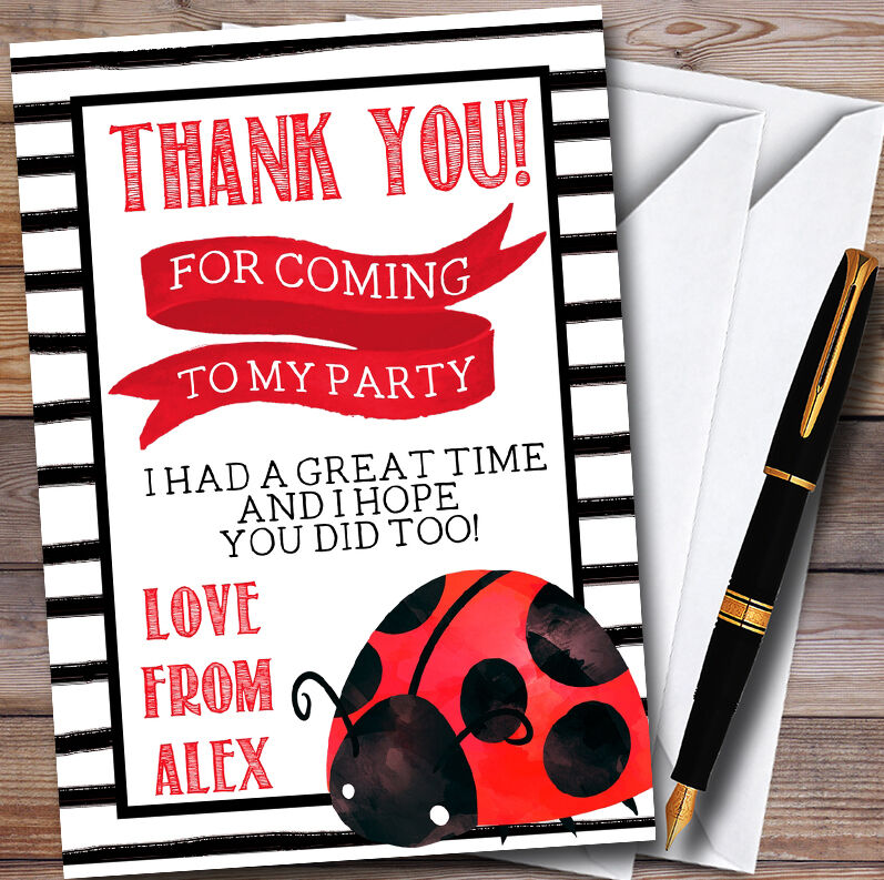 Cute Ladybird Ladybug Personalised Party Thank You Cards
