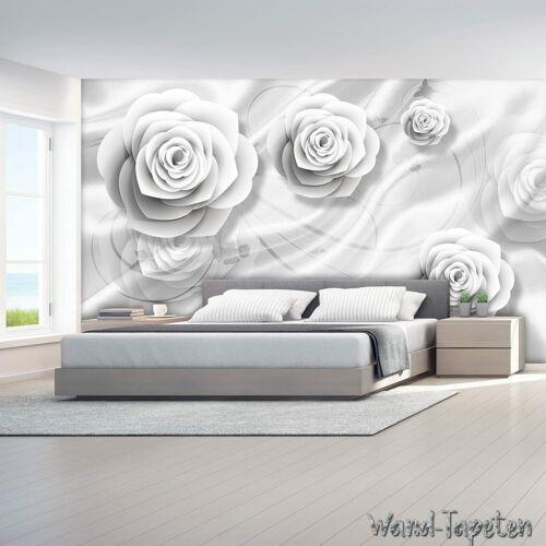 WANDTAPETEN 3D-ROSE FLOWER WHITE MODERN KN-1662 VLIES FOTOTAPETEN