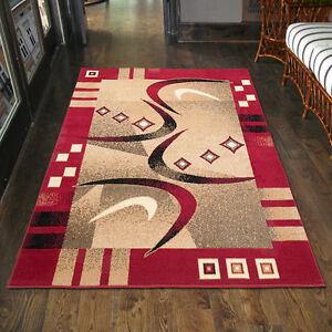 teppich modern in rot wohnzimmer flur xxl kurzflor 80x150 200x300 300x400 ebay. Black Bedroom Furniture Sets. Home Design Ideas