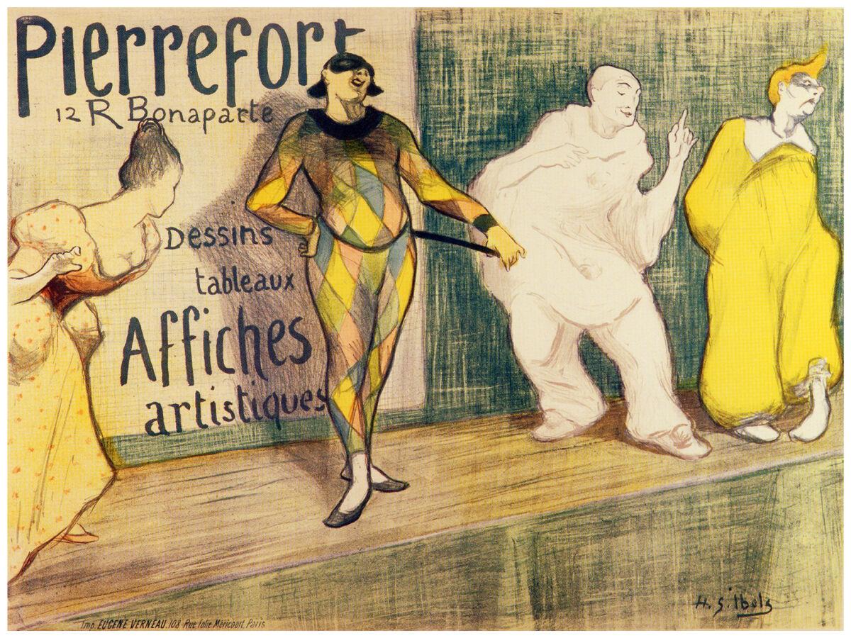 16x20  CANVAS Decor.Room art print.Pierrot.French clown theater show.6025