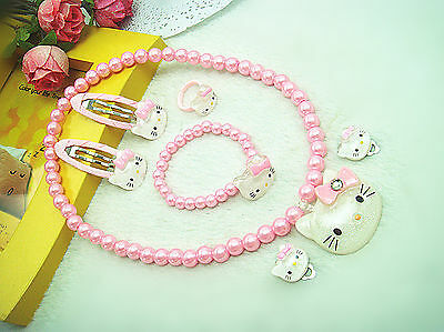 Baby Girls Kids Easter Hello Kitty Necklace hair clip ring or Earrings Set Gift