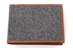 Gladson-Fatto-a-Mano-Bifold-Wallet-Italian-Leather-Tweed-Gray-Herringbone-Gift