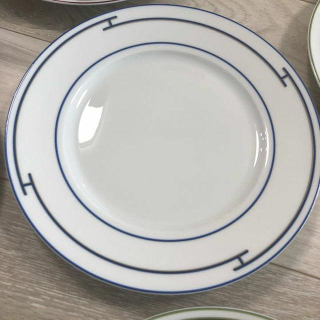 Hermes Porcelain Rythme Bleu Dinner Plate vaisselle Bac Ornement NEUF RARE 11