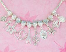 Free Ship Wholesale 100pcs Silver Plated Mix Dangle Charms Fit Bracelet SY04