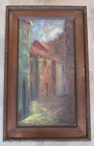 Vintage-Original-Signed-Oil-Painting-European-Rome-Street-Alley-Realism-Scene