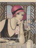 Cross Stitch Chart Art Deco Lady time For Tea - No. 1-116 (large Print)