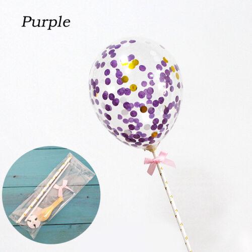 Konfetti Ballon Kuchen Topper Dekoration mit Stroh Band Tisch Baby Dusche