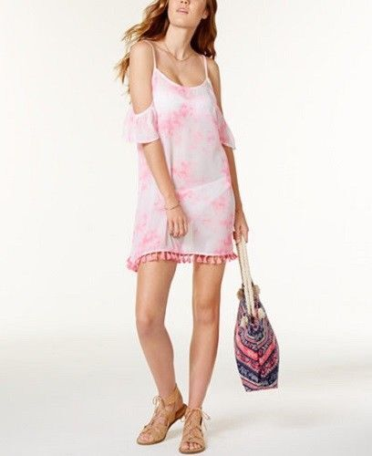 Miken Womens Tie-Dyed Cross-Back Dress Swim Cover-Up