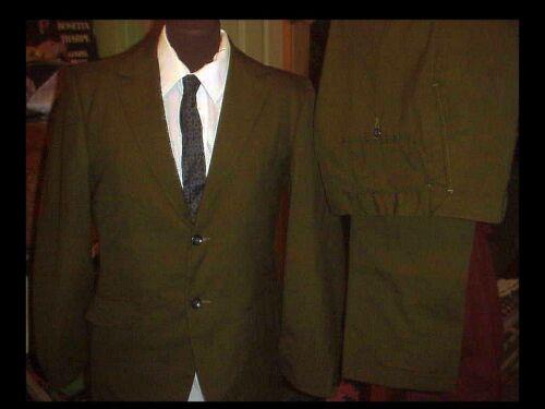 Tuta uomo da cravatta vintage in '50 con verde e da 38 anni scuro uomo pantaloni giacca ratto a pelle 28 da r0nF8xr