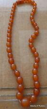 Antique Natural  butterscotch egg yolk Baltic Amber Round  Beads Necklace   41gr