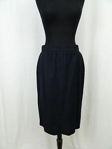 Escada Margaretha Ley Vintage Black Wool Knee Length Straight Skirt Women's 40