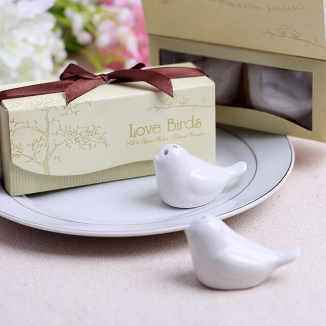 2x Ceramic Love Birds Salt & Pepper Shakers Wedding Bridal Shower PartyAUE