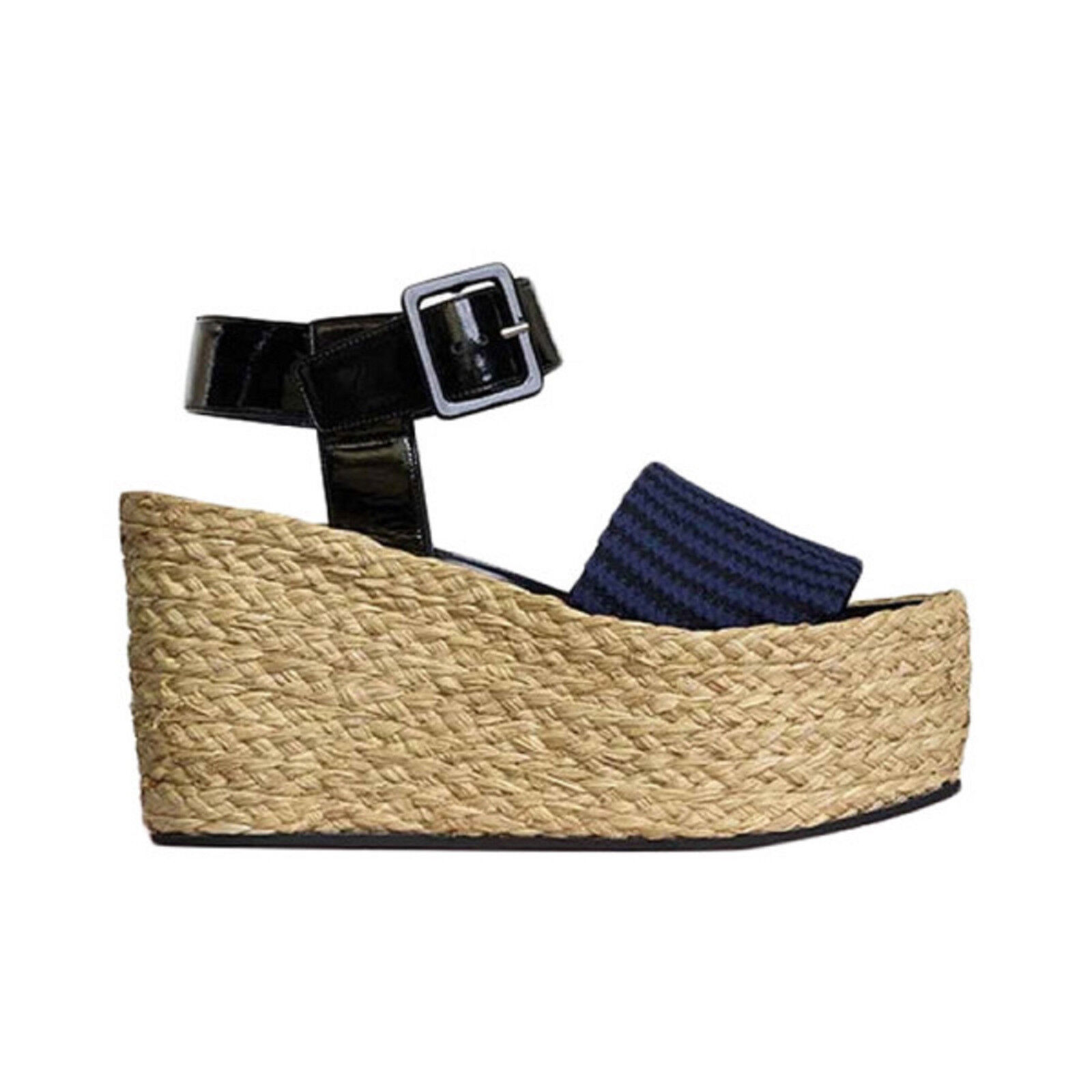 NW AUT CELINE CELINE CELINE STRIPED WEDGE SANDALS RAPHIA PATENT LEATH SZ41 RET 1068 BARGAIN  4770f5