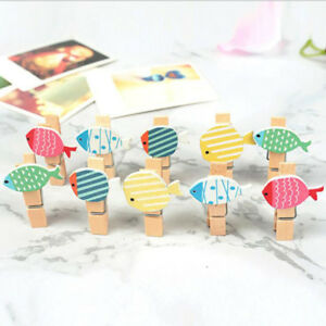 Diy Crafts 10pcs Color Tropical Fish Wooden Clip Photo Paper Clips
