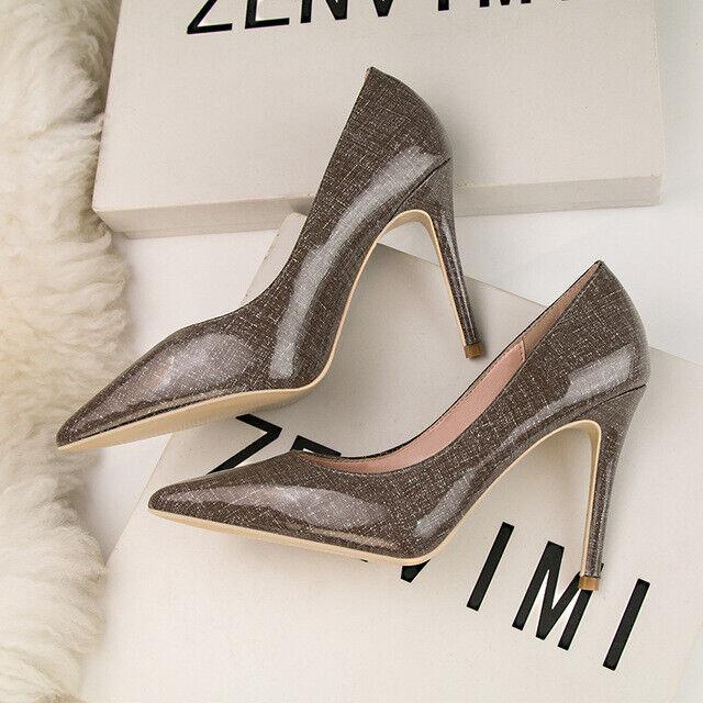 Grau cm 10 Stilett Pumps Schuhe Geöffnet Elegant 1552