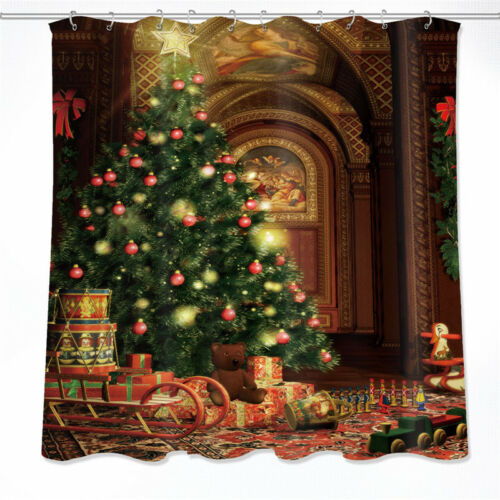 Shower Curtain Bath Mat Vintage House Christmas Tree Polyester Waterproof Fabric