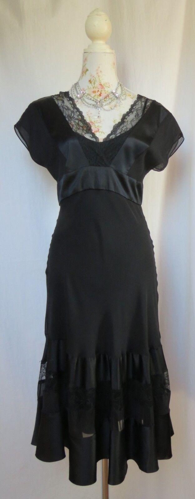 Diane von Fürstenberg Seidenkleid schwarz Spitze Us 4 34 36 Seide Cocktailkleid